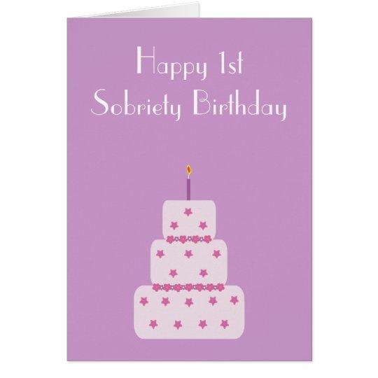1 year milestone sobriety birthday cake card