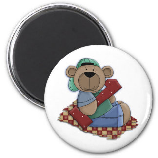 1 Year Old Bear in Ball Cap 6 Cm Round Magnet