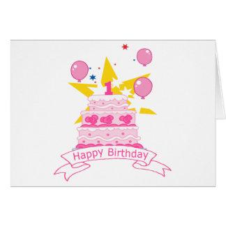 1 Year Old Birthday Cake Greeting Card