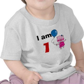 1 year old birthday girl gift cute pig shirt