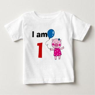 1 year old birthday girl gift (cute pig) tees