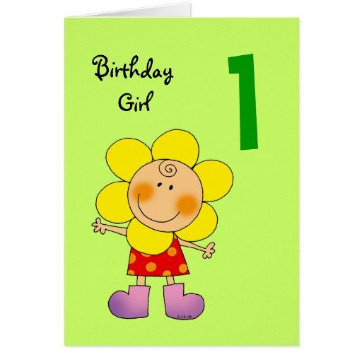 1 year old birthday girl greeting card