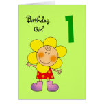 1 year old birthday girl greeting cards