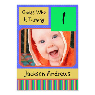 1 Year Old Birthday Party Invitations BOY