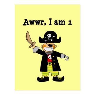 1 year old pirate boy postcard