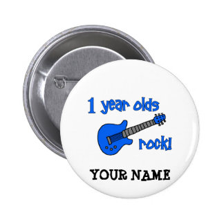 1 year olds rock! Personalized Baby's 1st Birthday 6 Cm Round Badge