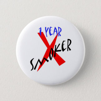 1 Year Red Ex-smoker 6 Cm Round Badge