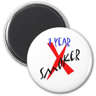 1 Year Red Ex-smoker 6 Cm Round Magnet