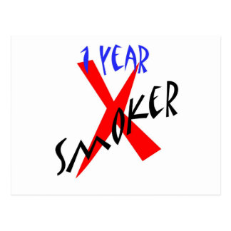 1 Year Red Ex-smoker Post Card