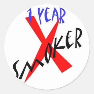 1 Year Red Ex-smoker Round Sticker