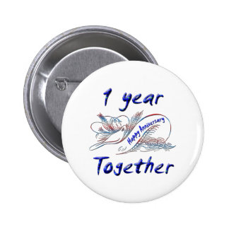 1 Year Together 6 Cm Round Badge