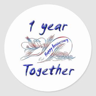 1 Year Together Classic Round Sticker