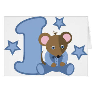 1 Yr Old Baby Mouse Birthday Gift Greeting Card