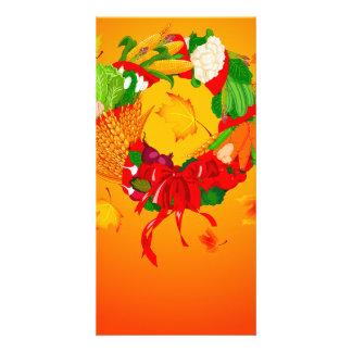 1ai fall harvest wreath personalised photo card