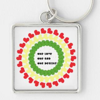 1love,god,destiny Silver-Colored square key ring