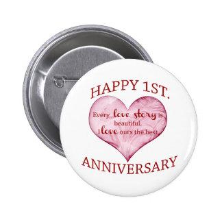 1st. Anniversary 6 Cm Round Badge