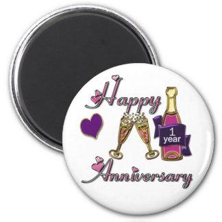 1st. Anniversary 6 Cm Round Magnet