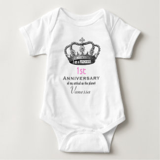 1st Anniversary Birthday Funny Princess Crown V01 Baby Bodysuit