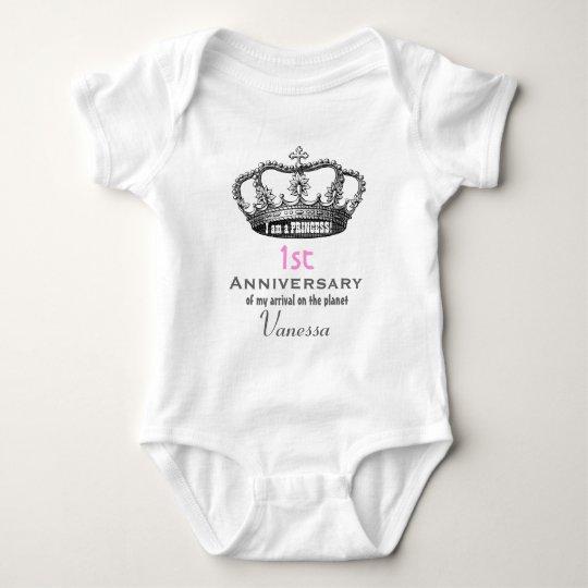 1st Anniversary Birthday Funny Princess Crown V01 Baby