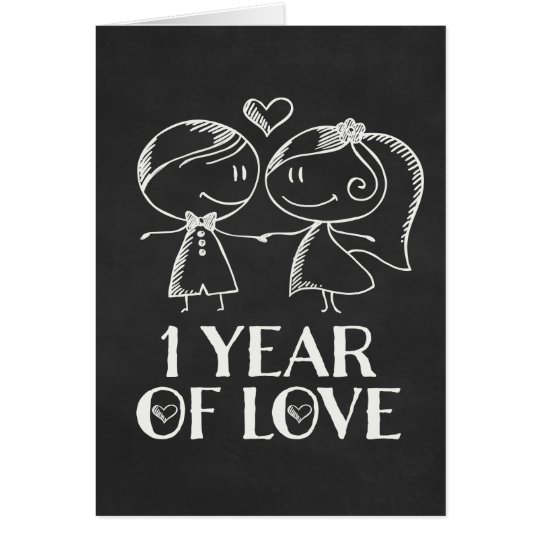 1st Anniversary Chalk board couple Card