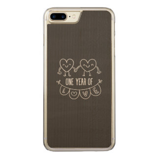 1st Anniversary Chalk Hearts Wood Carved iPhone 8 Plus/7 Plus Case