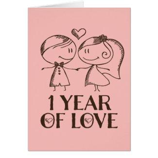 1st Anniversary Hand Drawn Couple Greeting Card