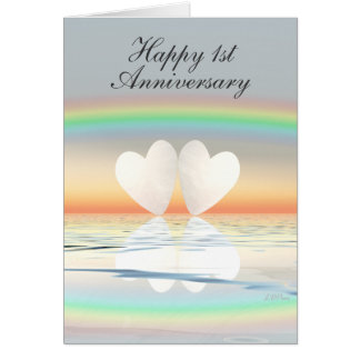 Vertical first wedding anniversary cards vertical first wedding 1st anniversary paper hearts card m4hsunfo