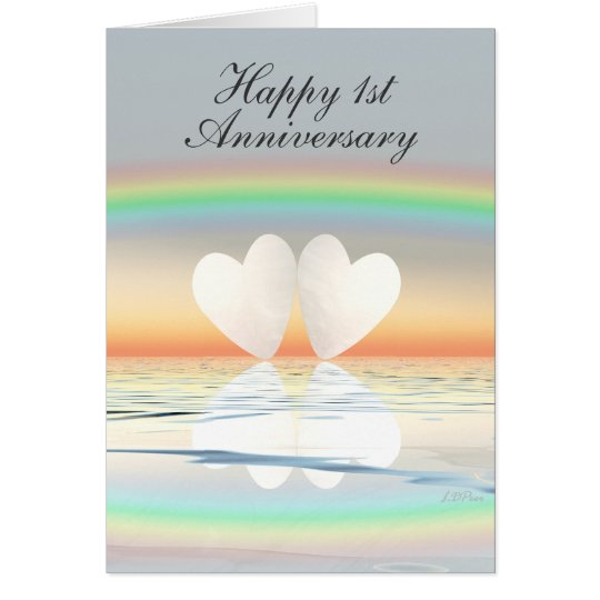 1st Anniversary Paper Hearts Card
