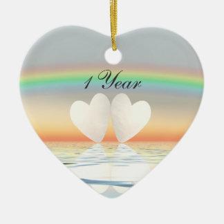1st Anniversary Paper Hearts Ceramic Heart Decoration