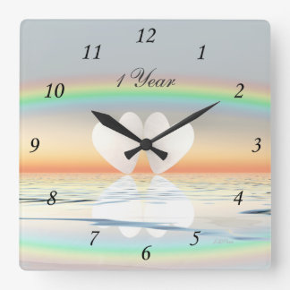 1st Anniversary Paper Hearts Clocks
