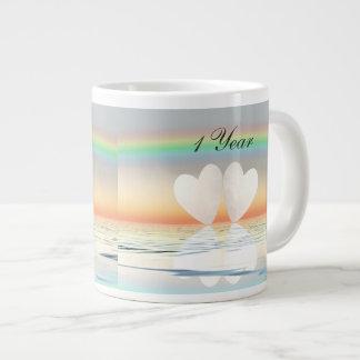 1st Anniversary Paper Hearts Jumbo Mug