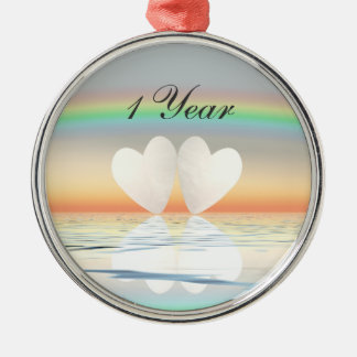 1st Anniversary Paper Hearts Silver-Colored Round Decoration