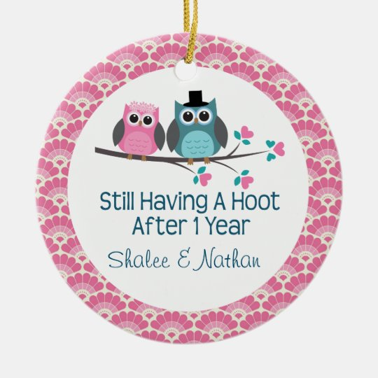 1st Anniversary Personalised Owl Couple Gift Christmas Ornament