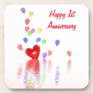 1st Anniversary Red Heart and Balloons Coasters