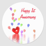 1st Anniversary Red Heart and Balloons Round Sticker