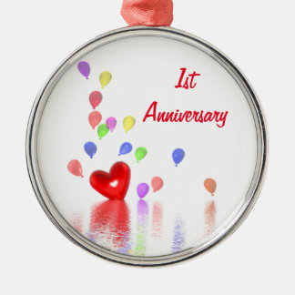 1st Anniversary Red Heart and Balloons Silver-Colored Round Decoration