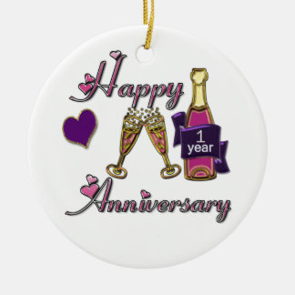 1st. Anniversary Round Ceramic Decoration