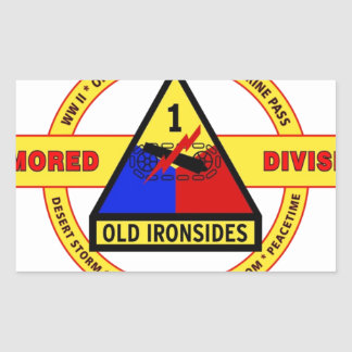"1ST ARMORED DIVISION ""OLD IRONSIDES"" RECTANGULAR STICKER"