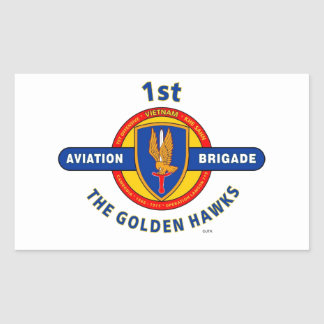 "1ST AVIATION BRIGADE VIETNAM ""GOLDEN HAWKS"" RECTANGULAR STICKER"