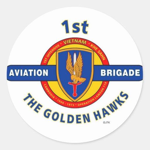 """1ST AVIATION BRIGADE VIETNAM """"GOLDEN HAWKS"""" ROUND STICKERS"""