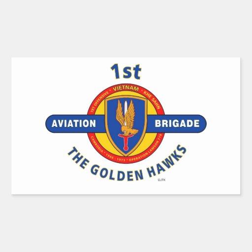 "1ST AVIATION BRIGADE VIETNAM ""GOLDEN HAWKS"" RECTANGLE STICKERS"