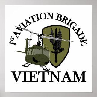 1st AVN BDE Vietnam Vet Huey Poster