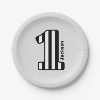 1st BABY Birthday Black Striped Big Number A20Z 7 Inch Paper Plate