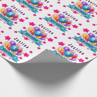 1st BABY Birthday Festive Colorful Balloons V10IZ5 Wrapping Paper