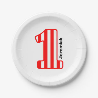 1st BABY Birthday Red Striped Big Number A21 7 Inch Paper Plate