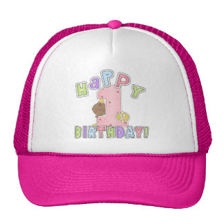 1st Birthday African American Girl Trucker Hats