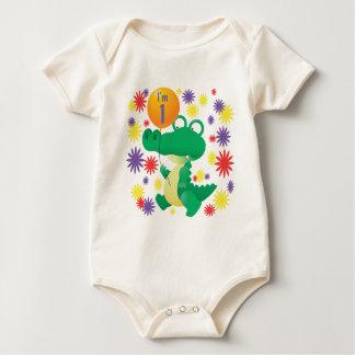 1st Birthday Alligator Baby Bodysuit