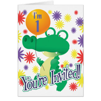 1st Birthday Alligator Card