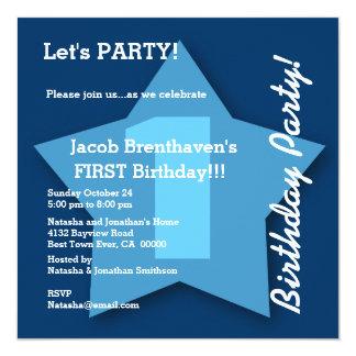 1st Birthday Baby Boy One Year Big Blue Star K02 Custom Invite
