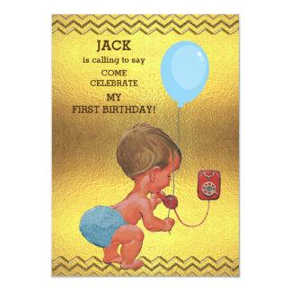 1st Birthday Baby Boy Phone Balloon Gold Chevrons 13 Cm X 18 Cm Invitation Card